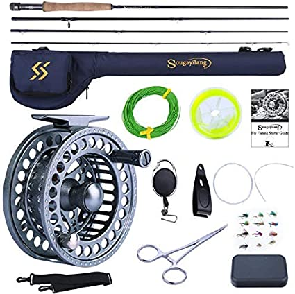 Amazon Com Sougayilang Fly Fishing Rod And Reel Combo 4 Pieces Ultra Lightweight Portable Fly Rod And Cnc Machined Aluminum Alloy Matte Reel Complete Starter Package With Rod Bag Sports Outdoors