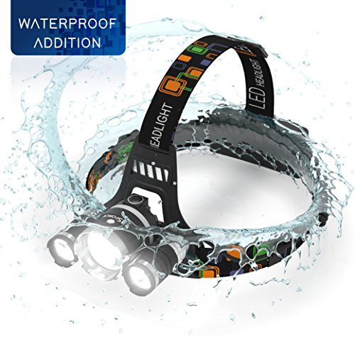 Brightest-and-Best-5000-Lumen-Bright-Headlamp-Flashlight-Torch-3-CREE-XM-L2-T6-LED-with-Rechargeable-Batteries-for-Reading-Outdoor-Running-Camping-Fishing-Walking-Waterproof-Headlight-By-MsForce