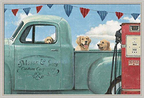 Lets Go for a Ride II James Wiens Vintage Truck Golden Retrievers Art
