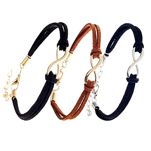 Fabulous Great Value Set of 3 Strappy Leather Straps Wristbands Bracelets Wrist Bands Bangles In Black And Brown Colors With Silver And Gold Infinity Symbols By VAGA®
