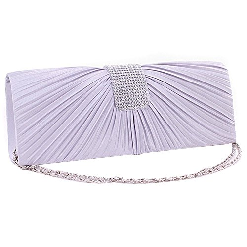 Bridal Heelinna Bag Evening Handbag Pleated Golden Clutch Women Wedding Party Silver 88X7fnqwZ