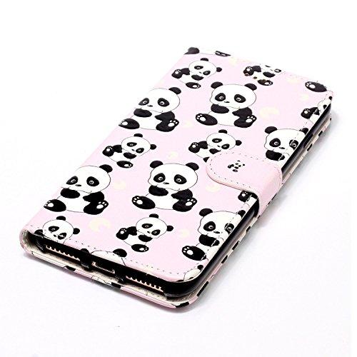 Funda iPhone 7 plus,SainCat Funda de cuero sintético tipo billetera con de Suave PU Carcasa Con Tapa y Cartera, Elegante Estuche Caja,Pintado en relieve árbol Cuero de la PU Leather Cubierta Plegable  Panda