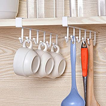 Merveilleux Moving And Free Perforated Under Cabinet Utensil Organizer Mug Hook Holder  Kitchen Storage Hanger Drying Rack