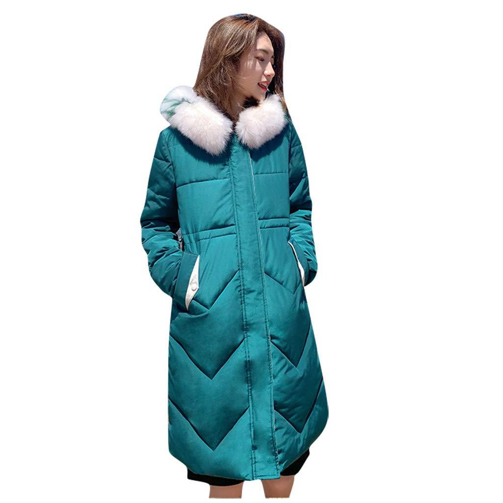 Allywit- Women Winter Warm Coat Parkas Overcoat Faux Fur Hooded Outwear Puffer Down Jacket Green by Allywit- Women