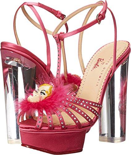 charlotte olympia Women's Barbie Girl, Barbie Pink Silk Satin/Crystals, 37 M