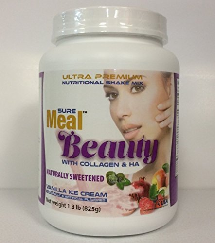 Sure Meal Beauty with Collagen & Ha Ultra Premium Nutritional Shake Mix - Net Weight 1.8 lb (825g)