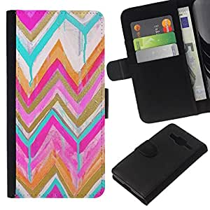 All Phone Most Case / Oferta Especial Cáscara Funda de cuero Monedero Cubierta de proteccion Caso / Wallet Case for Samsung Galaxy Core Prime // Gold Pink Watercolor Pattern