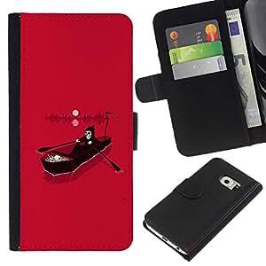 A-type (Rosa Muerte Parca río Infierno) Colorida Impresión Funda Cuero Monedero Caja Bolsa Cubierta Caja Piel Card Slots Para Samsung Galaxy S6 EDGE (NOT S6)