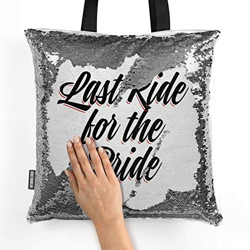 NEONBLOND Mermaid Tote Handbag Vintage Lettering Last Ride for the Bride Reversible Sequin