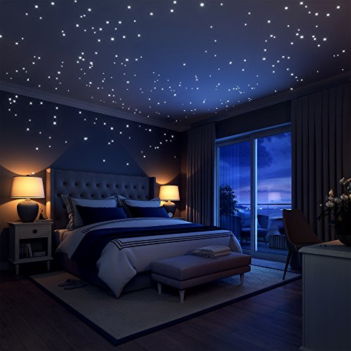 Glow In The Dark Stars Wall Stickers,252 Adhesive Dots and Moon for Starry Sky, Perfect For Kids Bedding Room or Birthday Toys Gift ,Beautiful Wall Decals by LIDERSTAR ,Bright and Realistic. (Wall Decor)