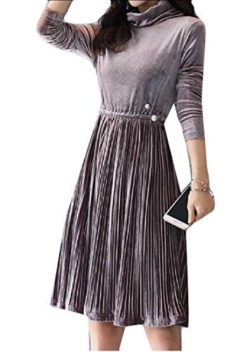 Coolred-femmes De Velours De La Mode Maigre Plissée Solide Robe À Col Roulé Rose Partie