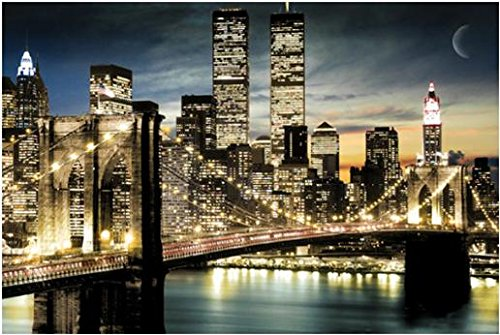 Manhattan Lights New York City Skyline 36x24 Art Poster Print Brooklyn Bridge World Trade Center Twin Towers
