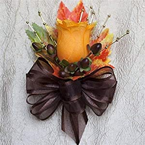 Orange Silk Rose Bud Corsage with Fall Leaves and Berries - Autumn Wedding Flowers by BalsaCircle 11