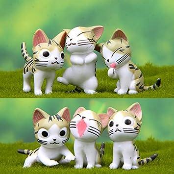 ALILEO 6 Unids Kawaii Queso Gatos Gatito Estatua Miniaturas Resina ...