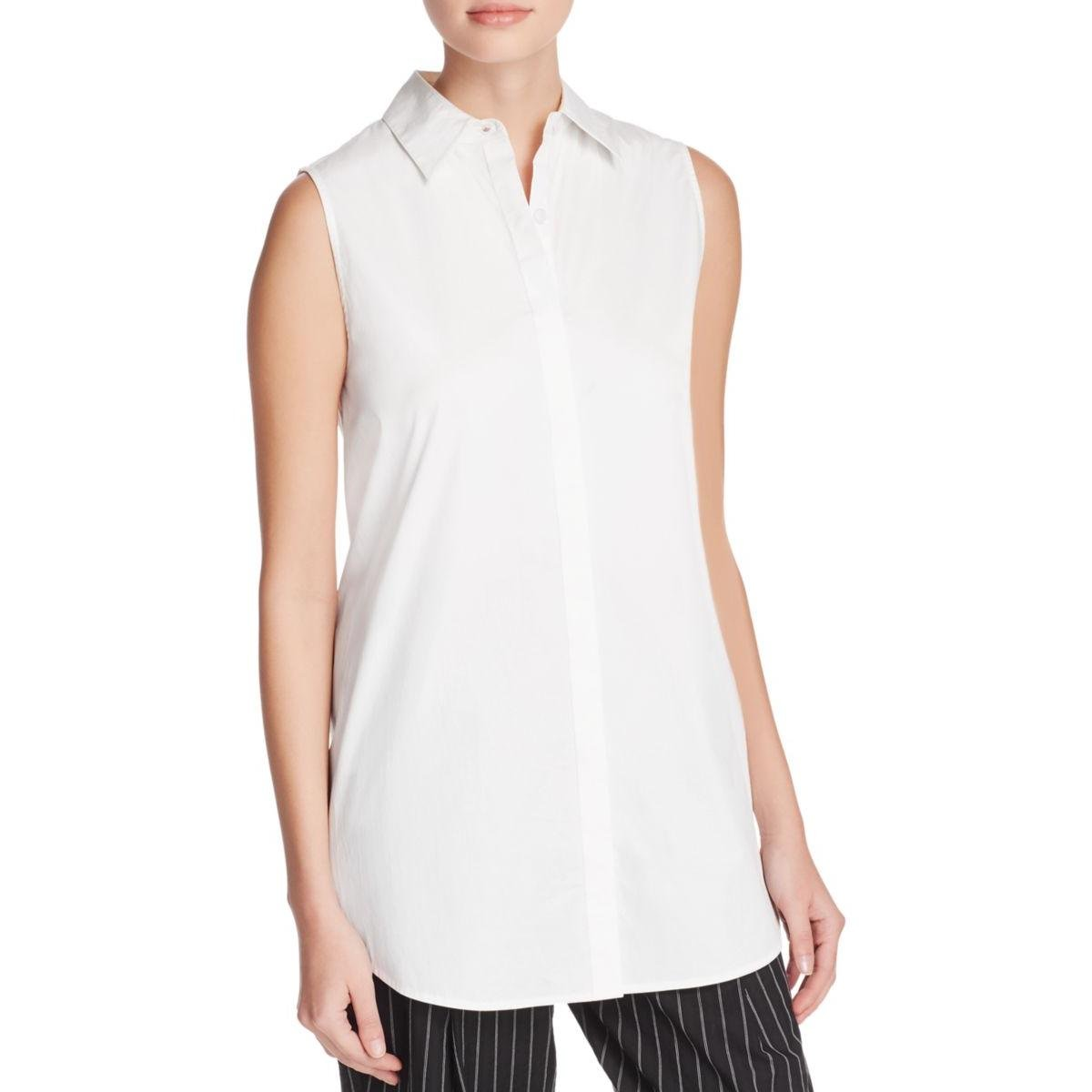 DKNY Womens Split Back Sleeveless Button-Down Top White L by DKNY (Image #1)