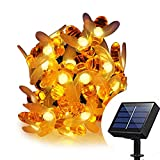 MAYSAK Solar Powered Honeybee Fairy String Lights Outdoor, 8 Model 30 Led Honey Bee String Lights Starry Fairy Lights Waterproof for Party, Wedding, Xmas, Gardens, Patios, Lawn Decoration(Warm White)