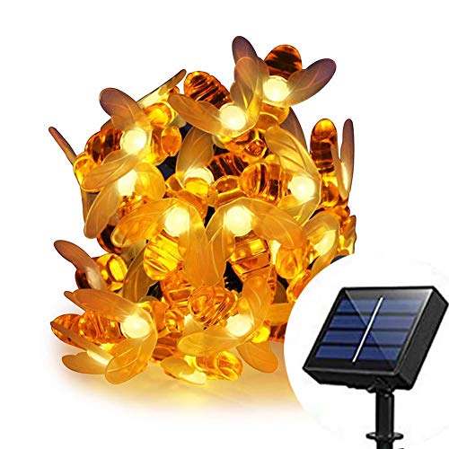 MAYSAK Solar Powered Honeybee Fairy String Lights Outdoor, 8 Model 30 Led Honey Bee String Lights Starry Fairy Lights Waterproof for Party, Wedding, Xmas, Gardens, Patios, Lawn Decoration(Warm White) by MAYSAK