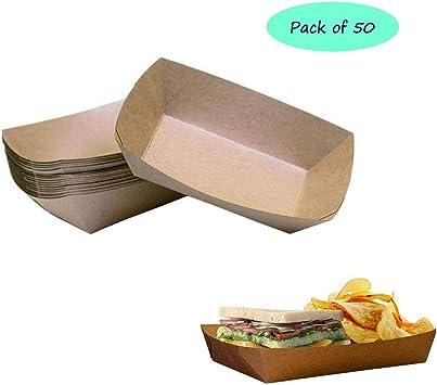 Weanty 50 unidades de bandeja de papel kraft para alimentos de perro caliente frito caja de embalaje desechable rápido caja de comida para aperitivos hamburguesas salchichas cuencos de cartón: Amazon.es: Hogar