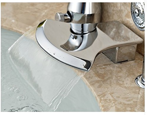 Gowe Brief Bathroom Basin Deck Mounted Sink Faucet Waterfall Mixer tap With Hand Shower Chrome Finished 4