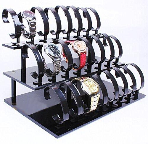 3-tier 24 Black Acrylic Watch Display Rack Watch Frame Wa...