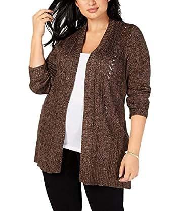 Karen Scott Womens Plus Size Pointelle Open-Front Cardigan