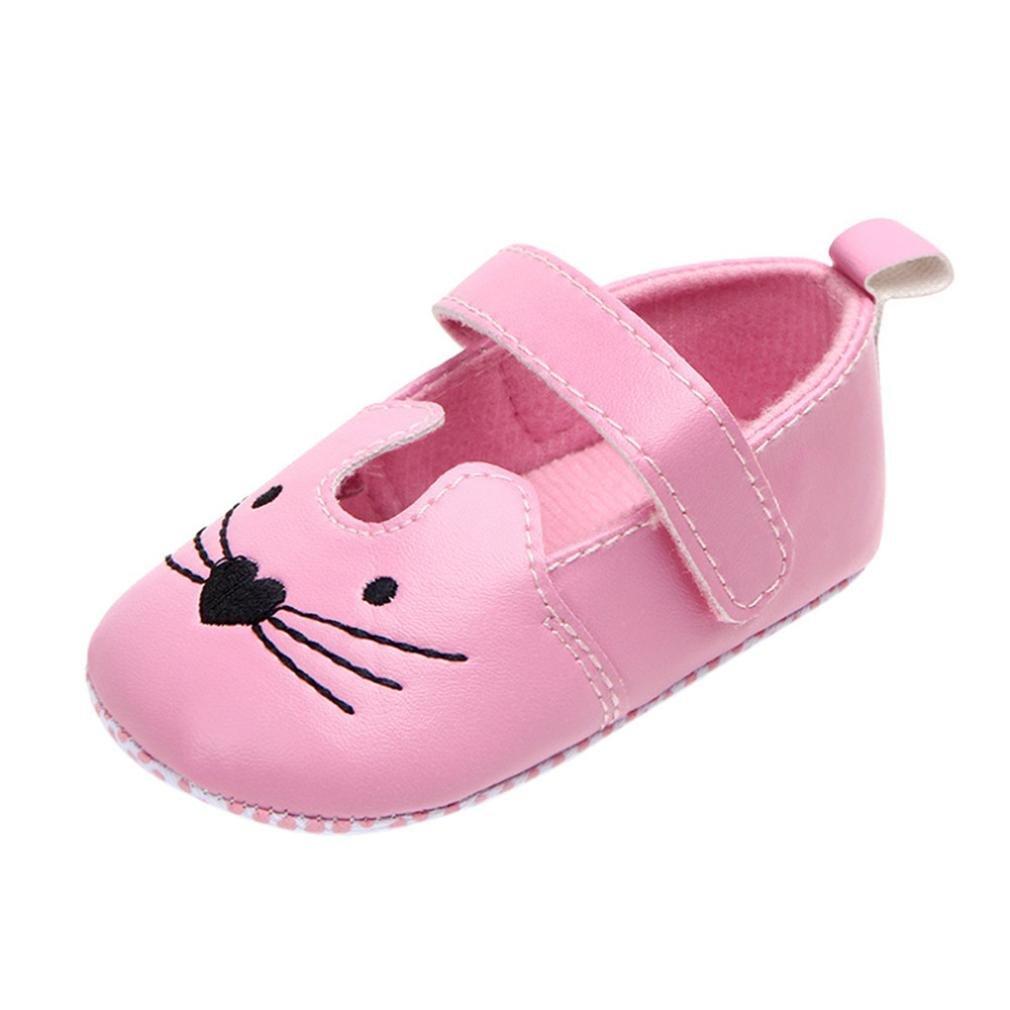 YJYdada Baby Girls Princess Cartoon Cat First Walkers Newborn Soft Soled Anti-Slip Shoes