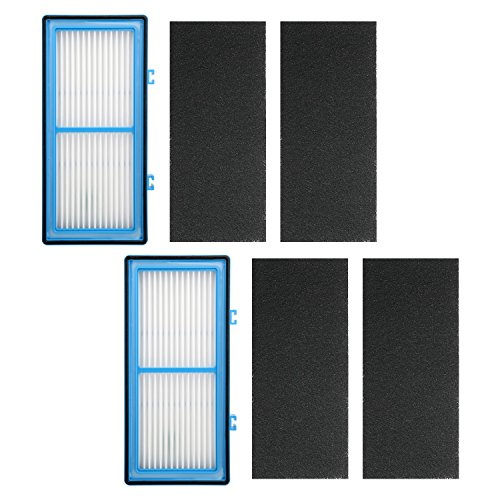 2 Pack Air Purifier Filters for Holmes AER1 HEPA Type Total Air Filter, HAPF30AT for Holmes HAP242-NUC Air Purifier Filter AER1 Series, Replace Type A Filter, 2 HEPA Filter + 4 Carbon Booster Filters by Wolf Filter