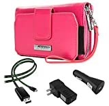 Sahara Women's Wristlet Clutch Wallet Raspberry Sorbet + Home & Car Charger + Lightning Cable for Sony Xperia Smartphones (Z3+, C4, Z4, M4 Aqua, E3