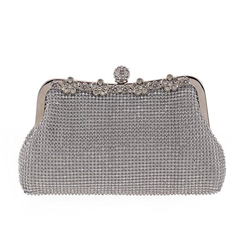 WenL Banquet Silver Evening Diamond Clutch Bag Ladies Metal Package 4gvq4nrw7