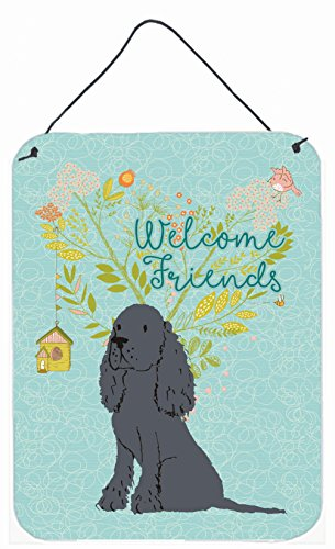 Caroline's Treasures Welcome Friends Black Cocker Spaniel Metal Print, 16h x 12w, Multicolor