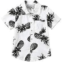 TIANRUN Little & Big Boy's Button Down Hawaiian Shirts Short Sleeve Pineapple Print Tops T-Shirt for Kids 1-6T
