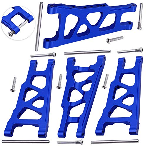 HobbyPark Front / Rear Aluminum Suspension Arms w/Screw pins Replacement of 3655x for RC Traxxas 1/10 Slash 4x4 4WD Stampede 4x4 Rally XO-1 Option Hop Ups (4-Pack) (Navy Blue)