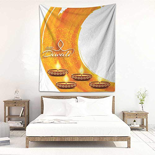 Room Tapestry Diwali Modern Graphic Diwali Festive Celebration Themed Candles on Paisley Backdrop Print Art Bedspread Yoga Mat Blanket 47