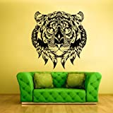 Wall Vinyl Sticker Decals Decor Art Bedroom Tiger Leopard Lion Animal Wild Cat Head Detailed Feathers Ethnic (Z2413) by StickersForLife