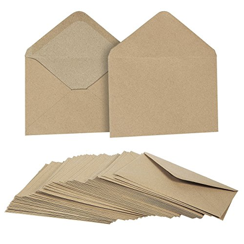 50 Pieces Kraft Envelopes - 4.6 x 6.3 Inches Contour Flap Envelopes - Perfect for Weddings, Graduations, Baby Showers - 120 GSM (Save The Date Announcements For Corporate Events)