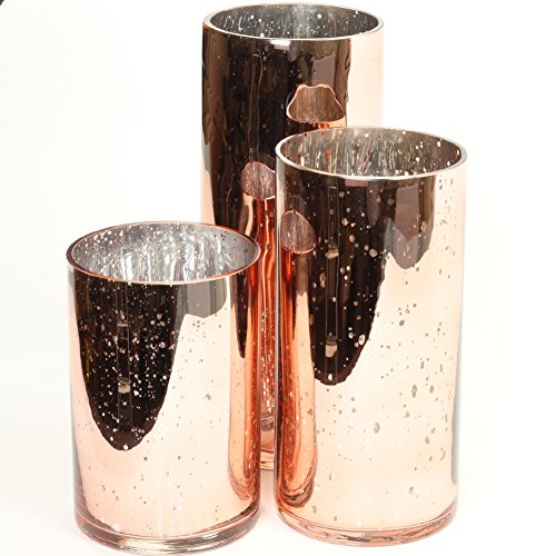 Koyal Wholesale Mercury Glass Cylinder Vases Set of 3 for Flowers, Floating Candles, Centerpiece Wedding Decor (Rose Gold)