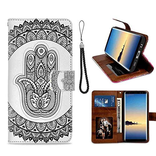 mophinda Phone Wallet Case for Galaxy S7 (5.1-Inch) Ethnic,Ancient Eastern Oriental Henna Hand and Mehndi Arabesque Tattoo Work of Art Print,Black White Faddish