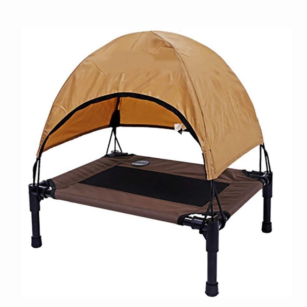 1077918cm IF.HLMF Portable Dog Cot with Canopy Elevated Pet Dog Bed Lightweight Waterproof Outdoor Raised Camping Pet Basket Oxford Fabric,107  79  18cm