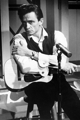 Johnny Cash 24x36 Poster seated on stool with guitar 1960's TV series ()