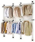 Portable Indoor Garment Rack Tools free DIY Coat Hanger Clothes Wardrobe 4 Poles