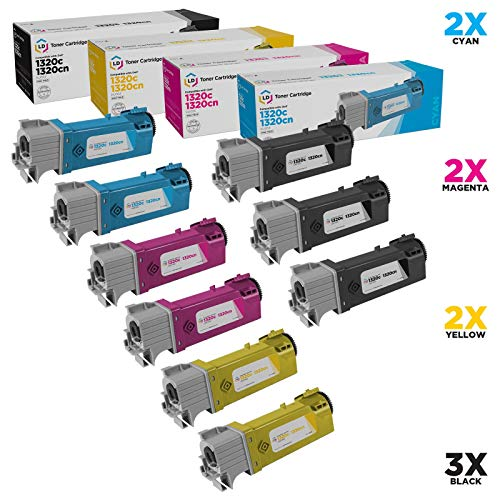 LD Compatible Toner Cartridge Replacement for Dell Color Laser 1320c High Yield (3 Black, 2 Cyan, 2 Magenta, 2 Yellow, 9-Pack) (Dell Dt615)