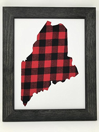 11x14 Rustic Black Solid Wood Frame With Maine State Opening in Acid Free Mat and Buffalo Plaid Cloth Background