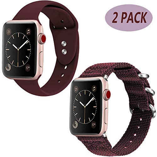 - LitoDream Compatible Silicone Cute Strap Replacement Apple Watch Band 38mm/40mm Pink iWatch Band Wristbands for Rose Gold Apple Watch Series 4/3/2/1 Sport Edition(Maroon Silicone+Nylon,38mm/40mm)