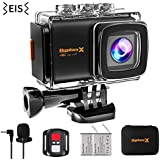 M80 Action Sports Camera EIS 4K/30FPS Underwater Cam Hyphenx WiFi Ultra HD Waterproof DV Helmet Cam for Skiing Skate 170 Degree Wide Angle Remote Control External Mic with Mounting Accessories Gift