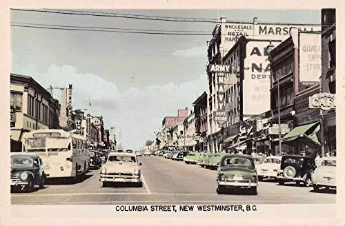 New Westminster BC Canada Columbia Street Tinted Real Photo Postcard ()