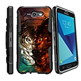 MINITURTLE Case Compatible w/Case for Galaxy J7 V | Samsung Perx Case| Samsung Sky Pro [Armor Reloaded] Shockproof Hybrid Stand Case for [Samsung J7 (2017] w/Stand and Holster Galaxy Wolf