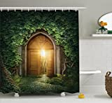 Green and Brown Shower Curtain Fantasy House Decor by Ambesonne, Sun seen Through Mysterious Half Opened Wooden Entrance With Greenery Image, Polyester Fabric Bathroom, 84 Inches Extra Long