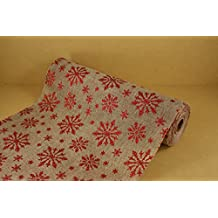 "12"" Artificial Faux Natural Color Burlap Roll with Red Glitter Snowflakes 10 Yds"