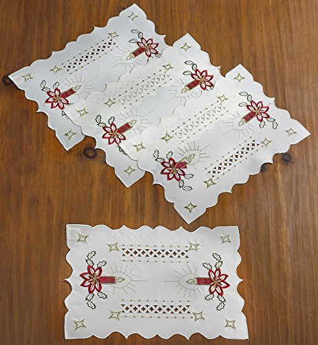 Violet Linen Seasonal Christmas Candles Vintage Holiday Embroidered Design Place Mats, 12