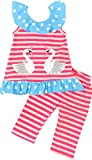 Toddler Little Girls Summer Flamingo Coral Stripes Capri Set 5/XL